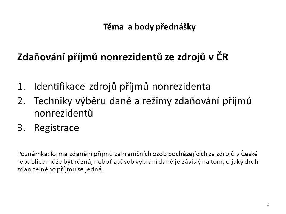 Zdaňování příjmů nonrezidentů ze zdrojů v ČR