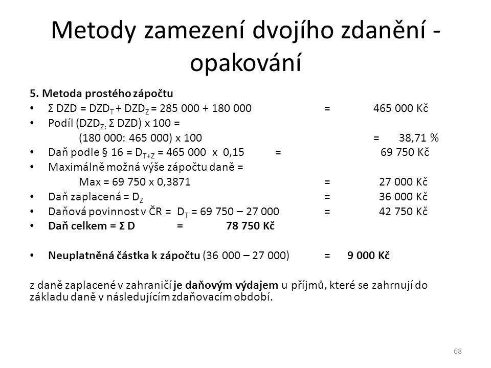 Metody zamezení dvojího zdanění - opakování