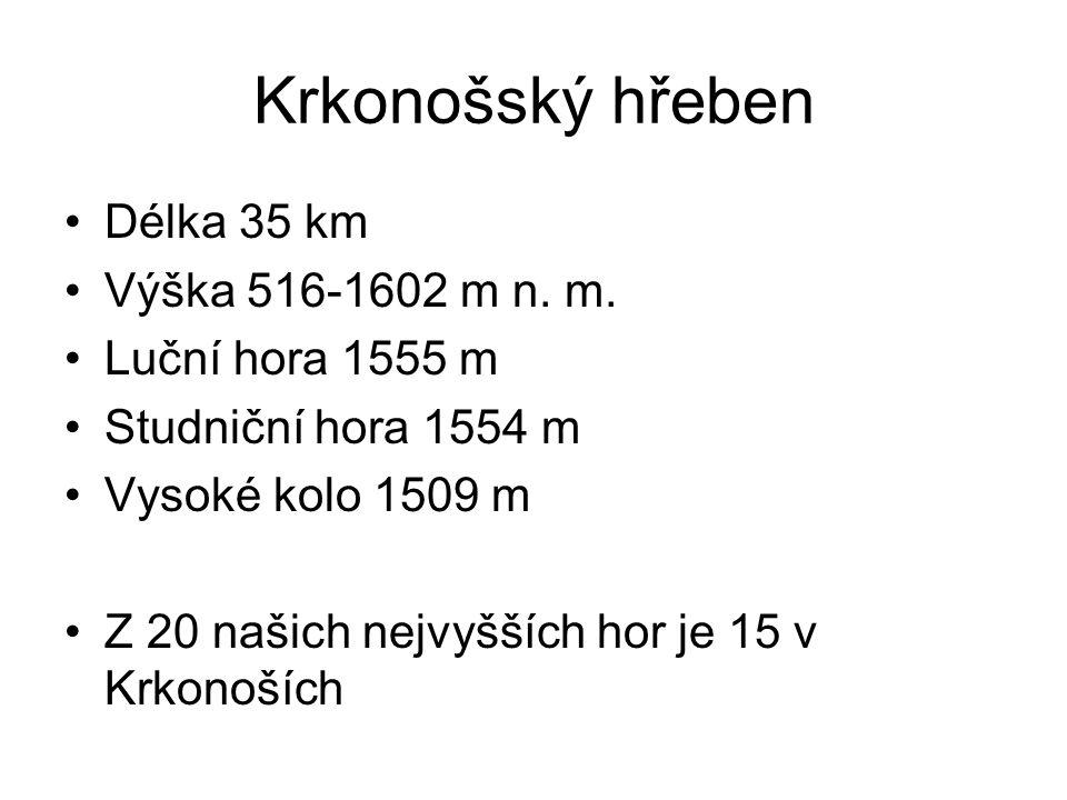 Krkonošský hřeben Délka 35 km Výška 516-1602 m n. m. Luční hora 1555 m