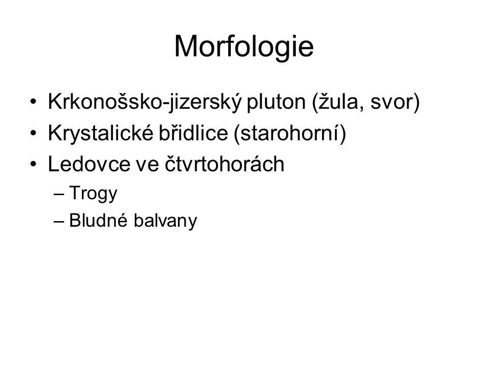 Morfologie Krkonošsko-jizerský pluton (žula, svor)