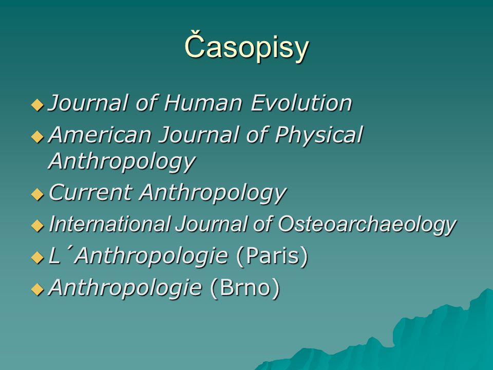 Časopisy Journal of Human Evolution