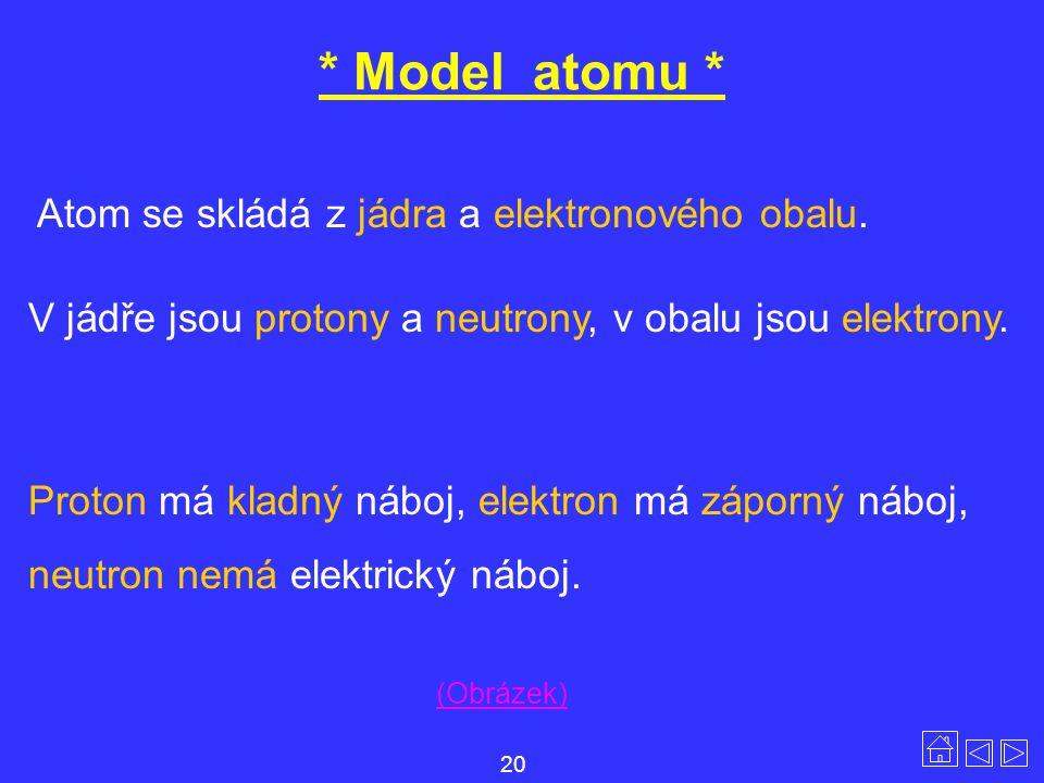 * Model atomu * Atom se skládá z jádra a elektronového obalu.