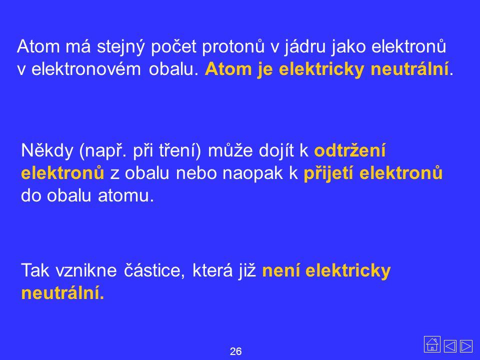 Tak vznikne částice, která již není elektricky neutrální.