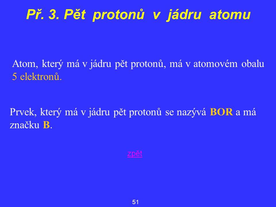 Př. 3. Pět protonů v jádru atomu