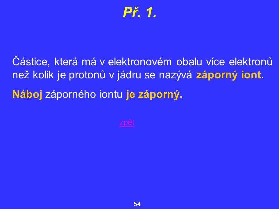 Př. 1. Částice, která má v elektronovém obalu více elektronů než kolik je protonů v jádru se nazývá záporný iont.