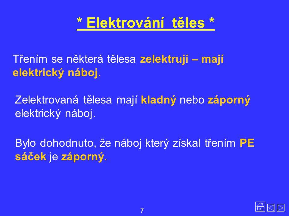 * Elektrování těles * Třením se některá tělesa zelektrují – mají elektrický náboj. Zelektrovaná tělesa mají kladný nebo záporný elektrický náboj.
