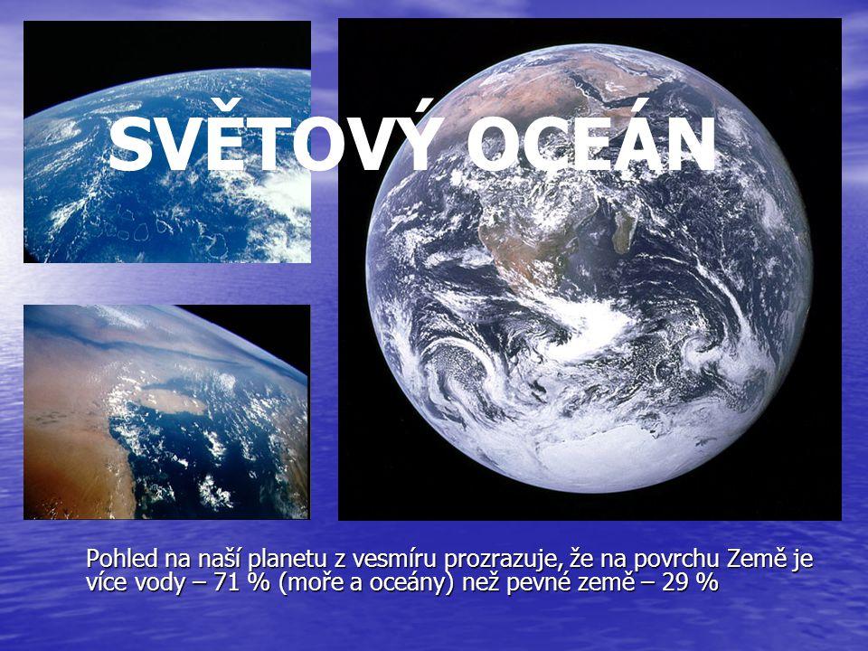 SVĚTOVÝ OCEÁN Pohled na naší planetu z vesmíru prozrazuje, že na povrchu Země je více vody – 71 % (moře a oceány) než pevné země – 29 %