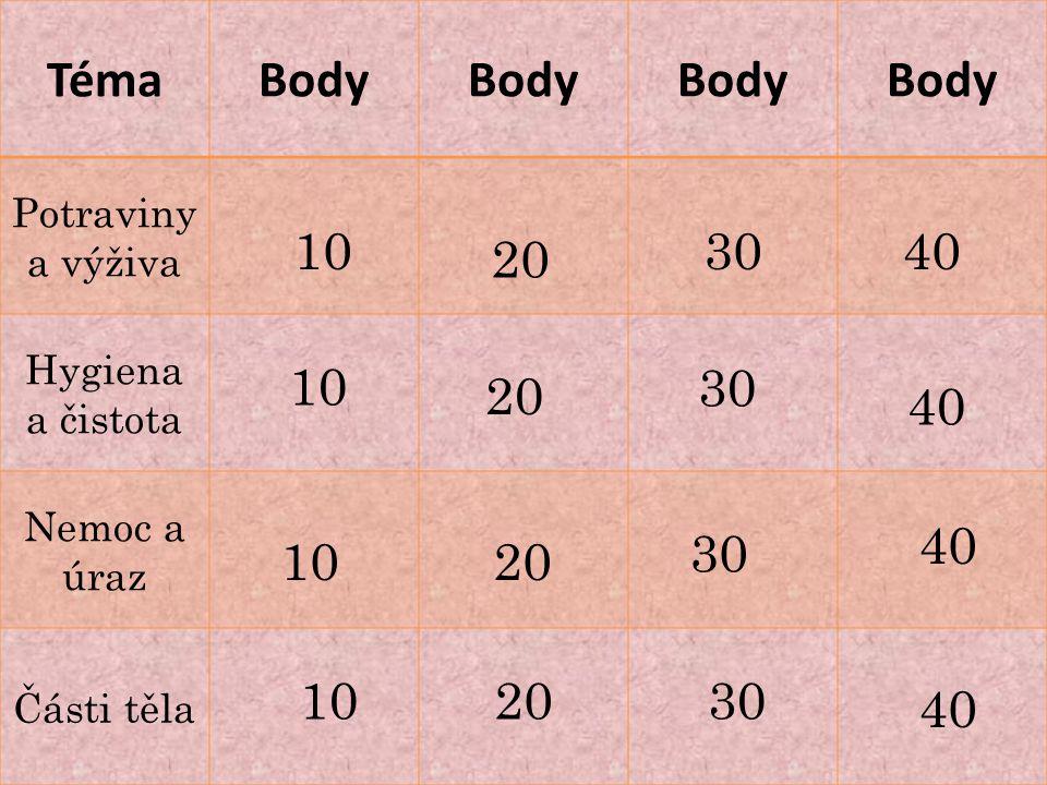 Téma Body 10 30 40 20 30 20 30 10 20 10 Potraviny a výživa