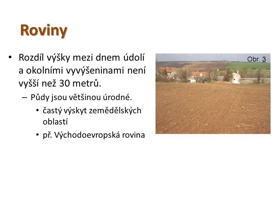 Roviny Rozdíl výšky mezi dnem údolí a okolními vyvýšeninami není vyšší než 30 metrů. Půdy jsou většinou úrodné.