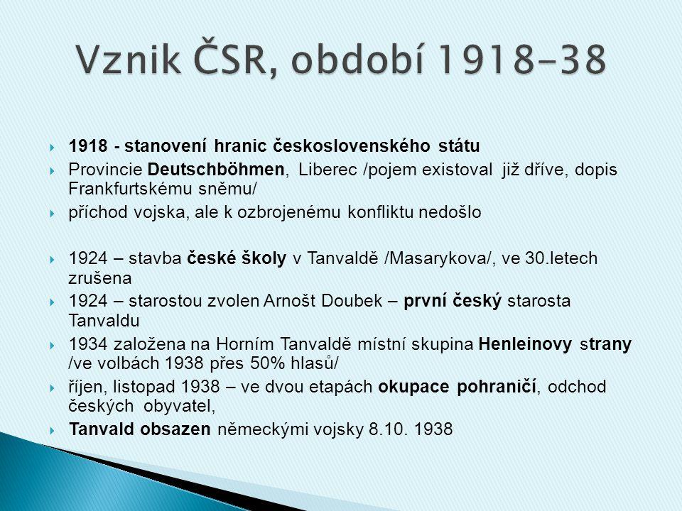 Vznik ČSR, období 1918-38 1918 - stanovení hranic československého státu.