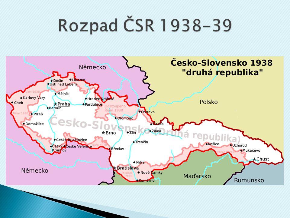 Rozpad ČSR 1938-39