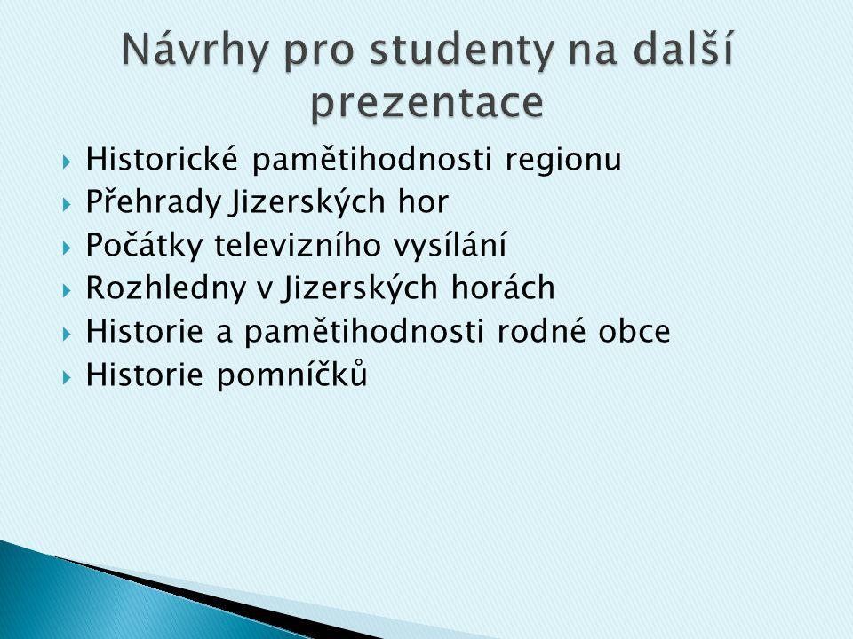 Návrhy pro studenty na další prezentace