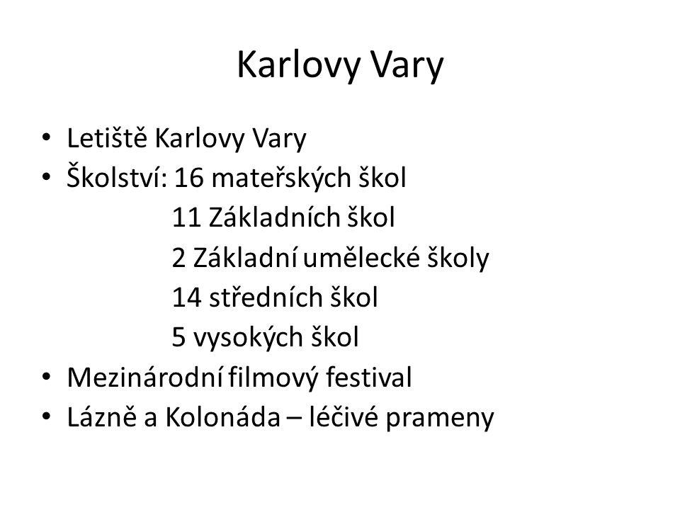 Karlovy Vary Letiště Karlovy Vary Školství: 16 mateřských škol