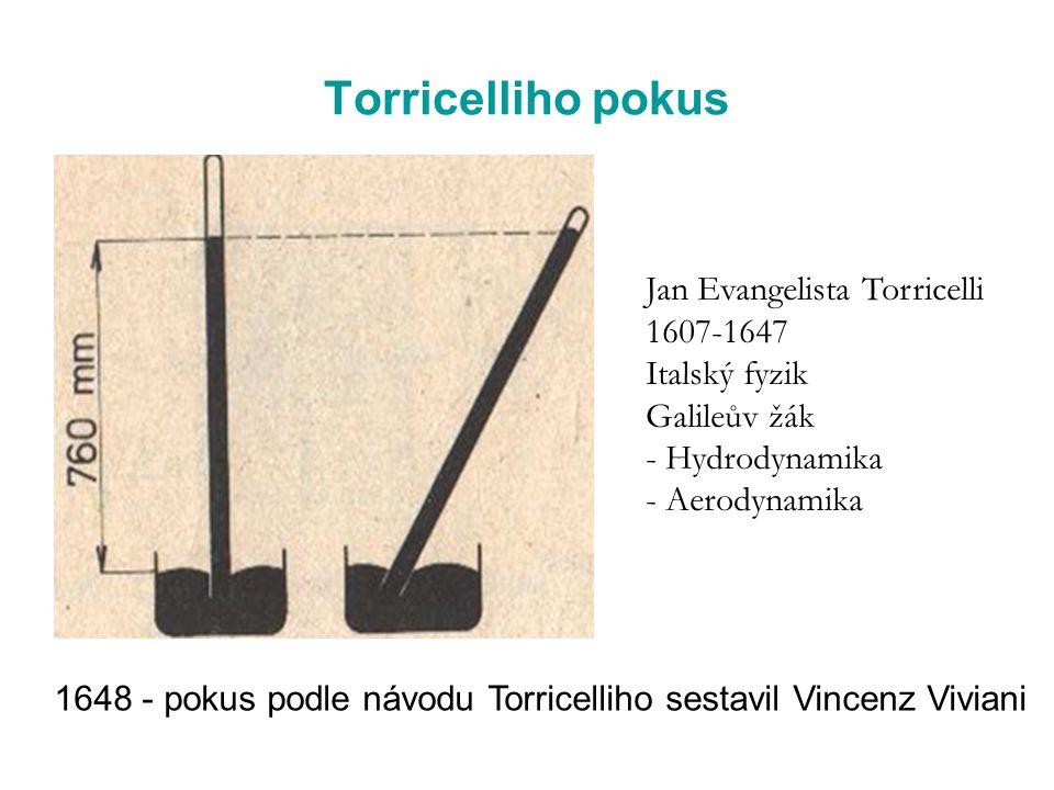 Torricelliho pokus Jan Evangelista Torricelli 1607-1647 Italský fyzik
