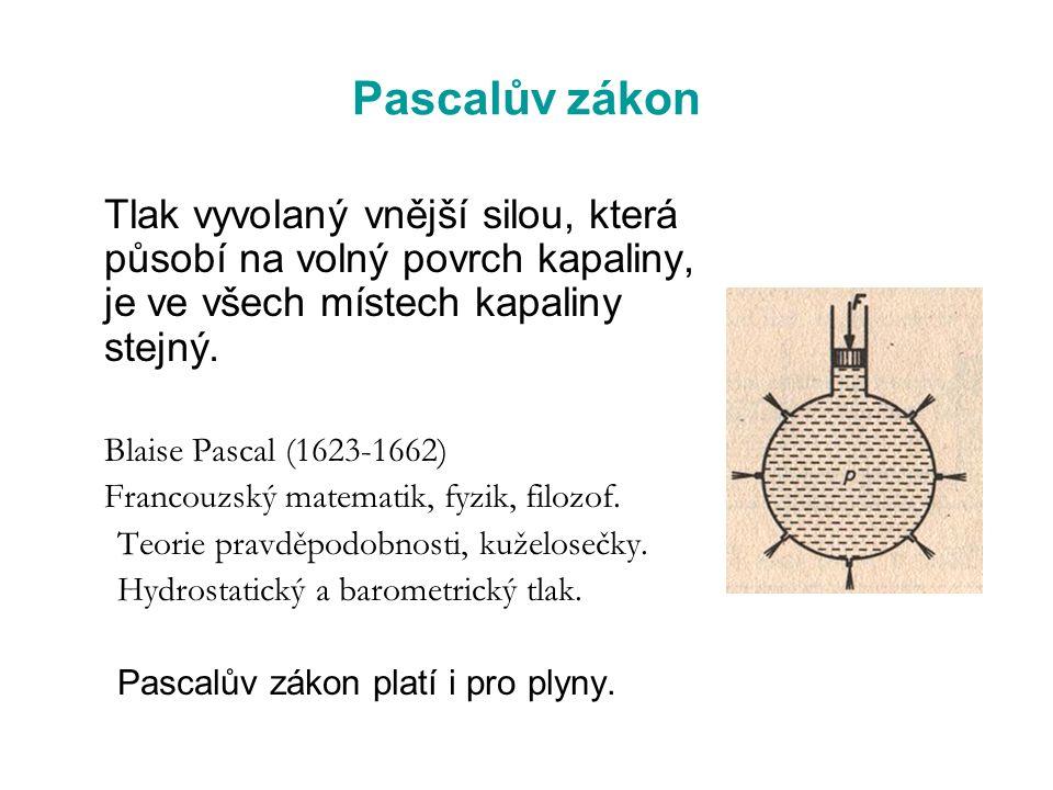 Pascalův zákon Francouzský matematik, fyzik, filozof.