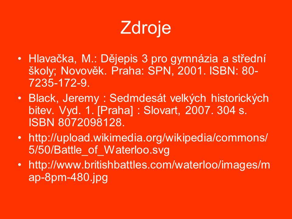 Zdroje Hlavačka, M.: Dějepis 3 pro gymnázia a střední školy; Novověk. Praha: SPN, 2001. ISBN: 80-7235-172-9.