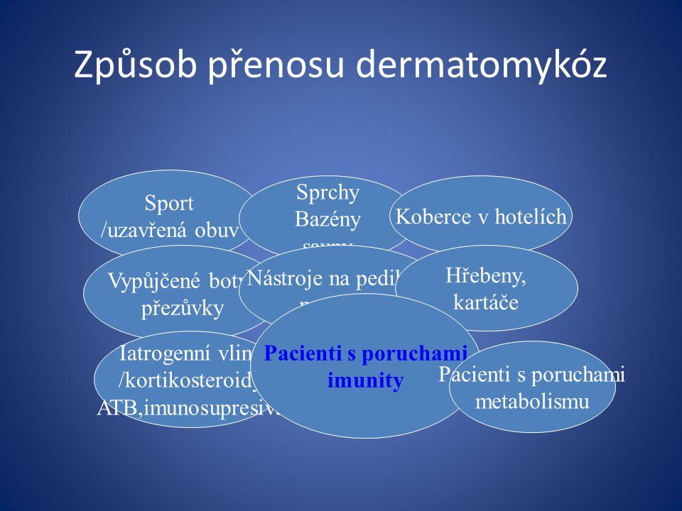 Způsob přenosu dermatomykóz