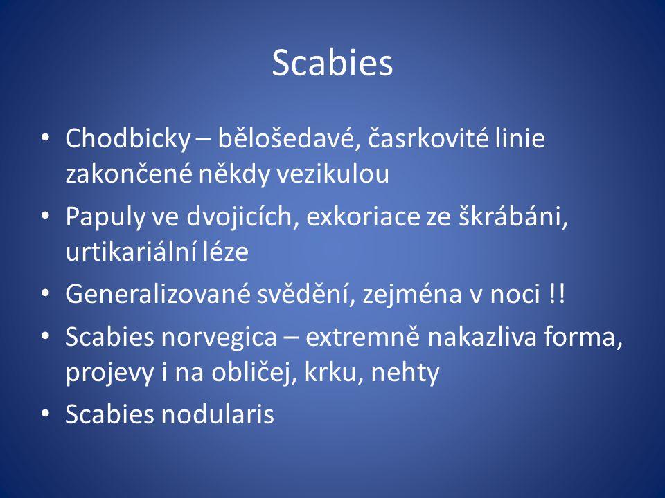 Scabies Chodbicky – bělošedavé, časrkovité linie zakončené někdy vezikulou. Papuly ve dvojicích, exkoriace ze škrábáni, urtikariální léze.