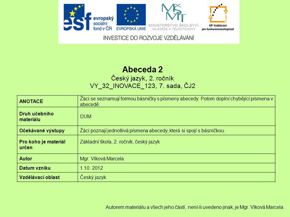 Abeceda 2 Český jazyk, 2. ročník VY_32_INOVACE_123, 7. sada, ČJ2