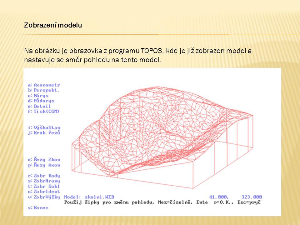 Zobrazení modelu Na obrázku je obrazovka z programu TOPOS, kde je již zobrazen model a nastavuje se směr pohledu na tento model.