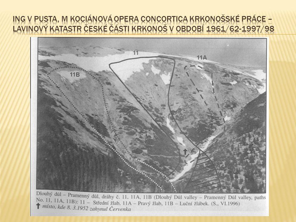 Ing V Pusta, M Kociánová Opera Concortica Krkonošské práce – Lavinový katastr české části Krkonoš v období 1961/62-1997/98