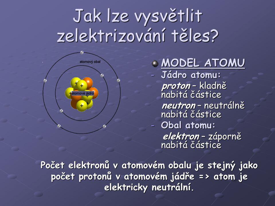 Jak lze vysvětlit zelektrizování těles