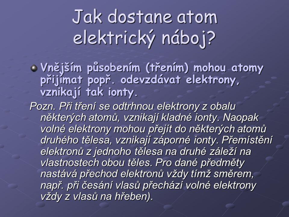 Jak dostane atom elektrický náboj