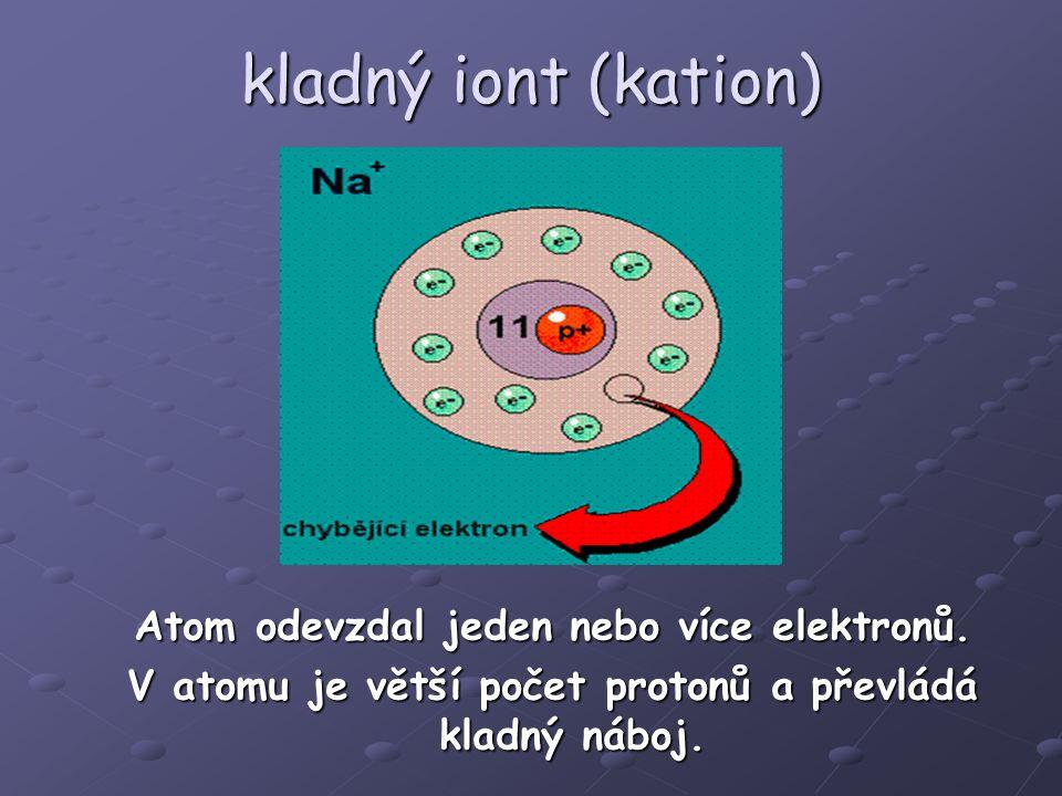 kladný iont (kation) Atom odevzdal jeden nebo více elektronů.