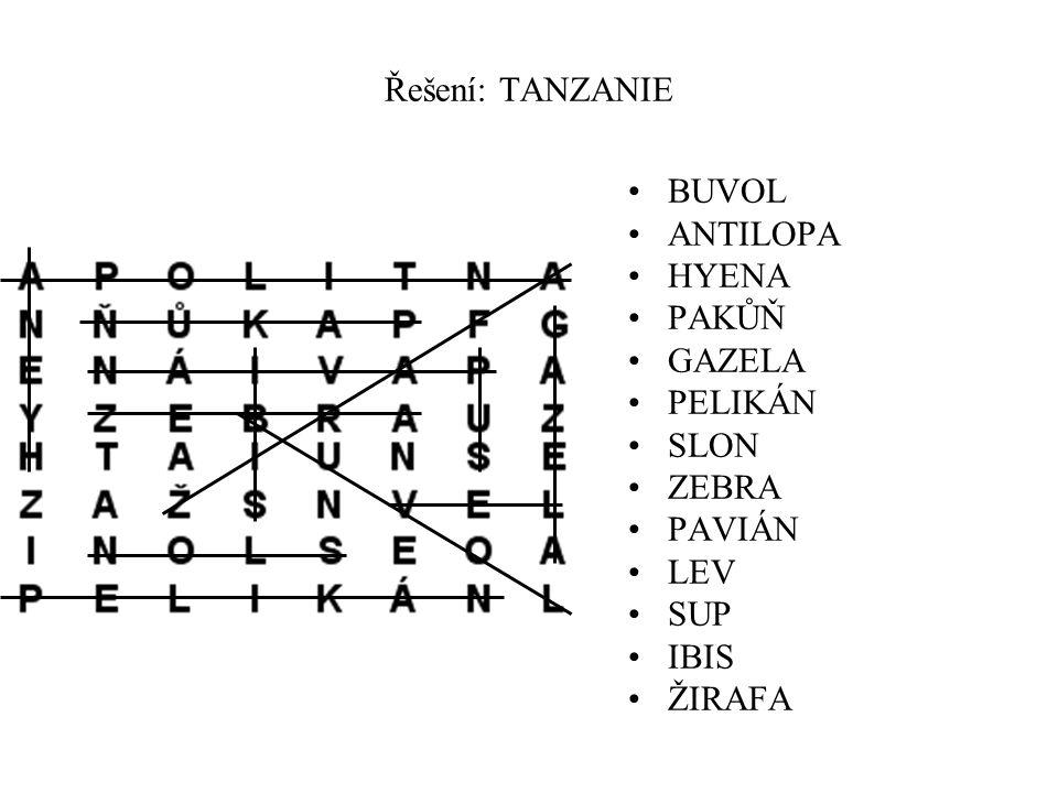 Řešení: TANZANIE BUVOL ANTILOPA HYENA PAKŮŇ GAZELA PELIKÁN SLON ZEBRA PAVIÁN LEV SUP IBIS ŽIRAFA