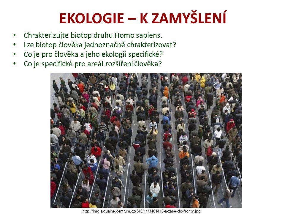 EKOLOGIE – K ZAMYŠLENÍ Chrakterizujte biotop druhu Homo sapiens.