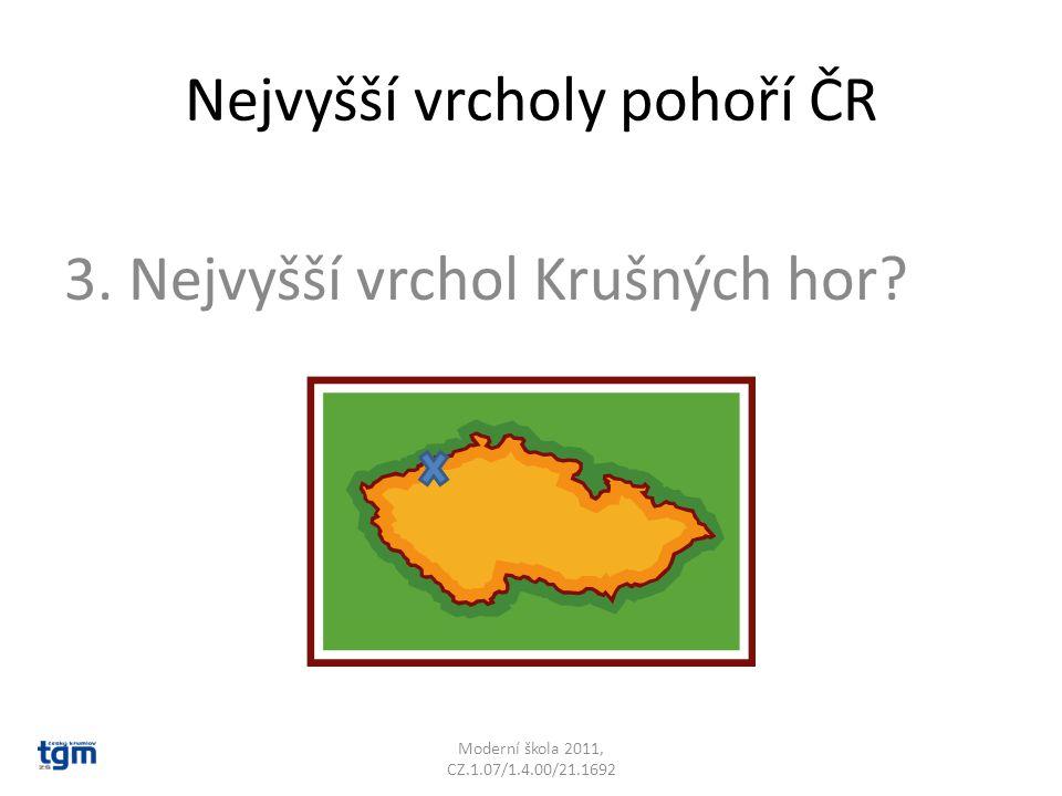 Nejvyšší vrcholy pohoří ČR