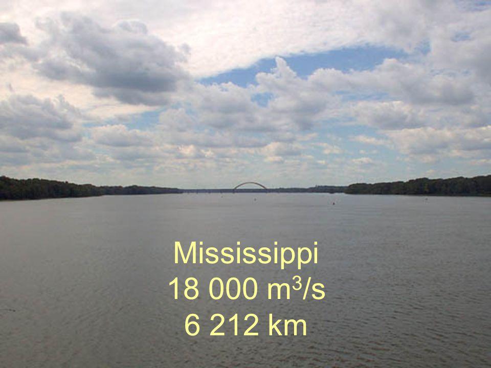 Mississippi 18 000 m3/s 6 212 km