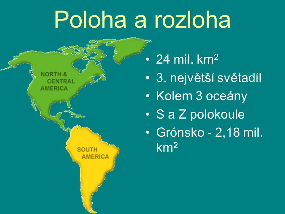 Poloha a rozloha 24 mil. km2 3. největší světadíl Kolem 3 oceány