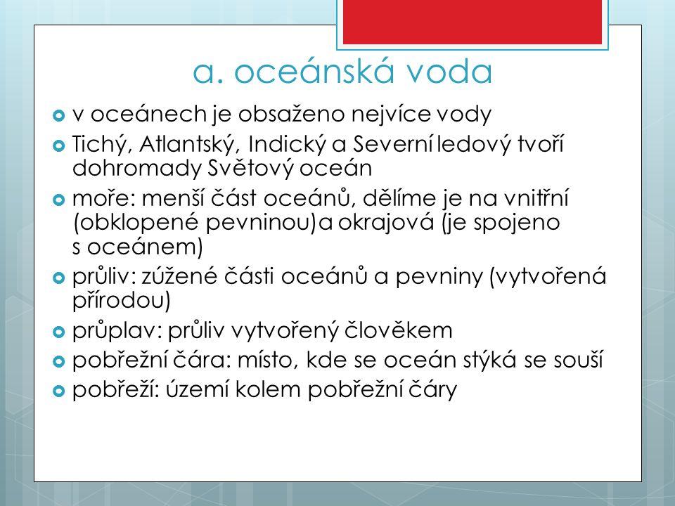 a. oceánská voda v oceánech je obsaženo nejvíce vody