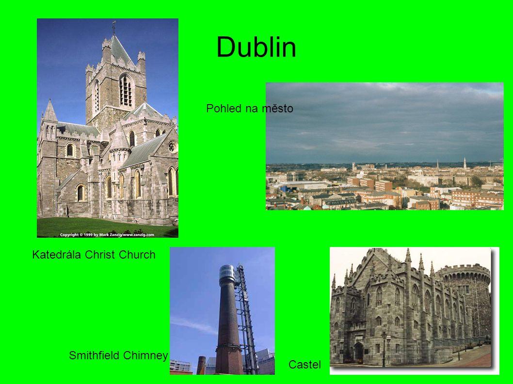 Dublin Pohled na město Katedrála Christ Church Smithfield Chimney