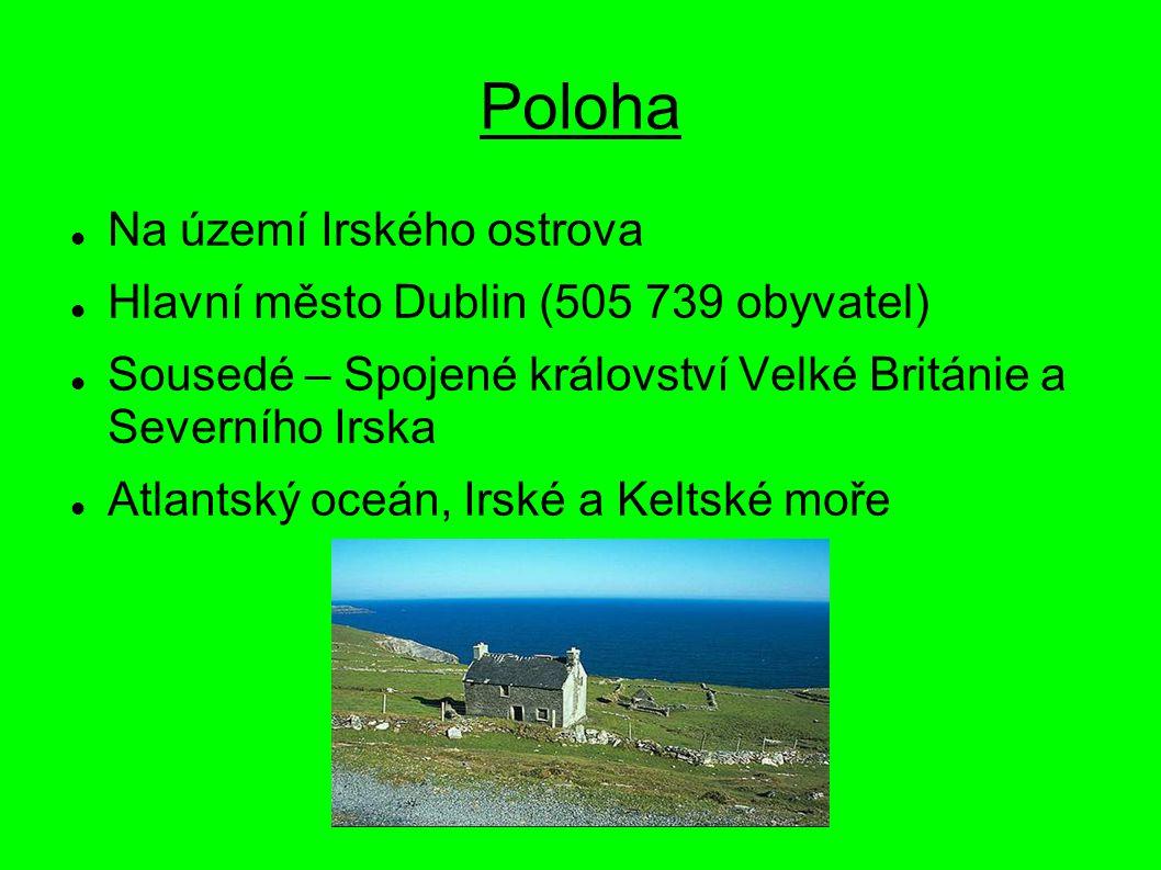 Poloha Na území Irského ostrova Hlavní město Dublin (505 739 obyvatel)