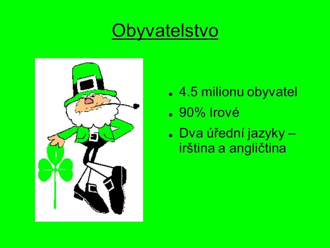 Obyvatelstvo 4.5 milionu obyvatel 90% Irové