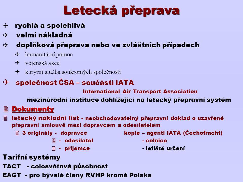 Letecká přeprava společnost ČSA – součástí IATA rychlá a spolehlivá