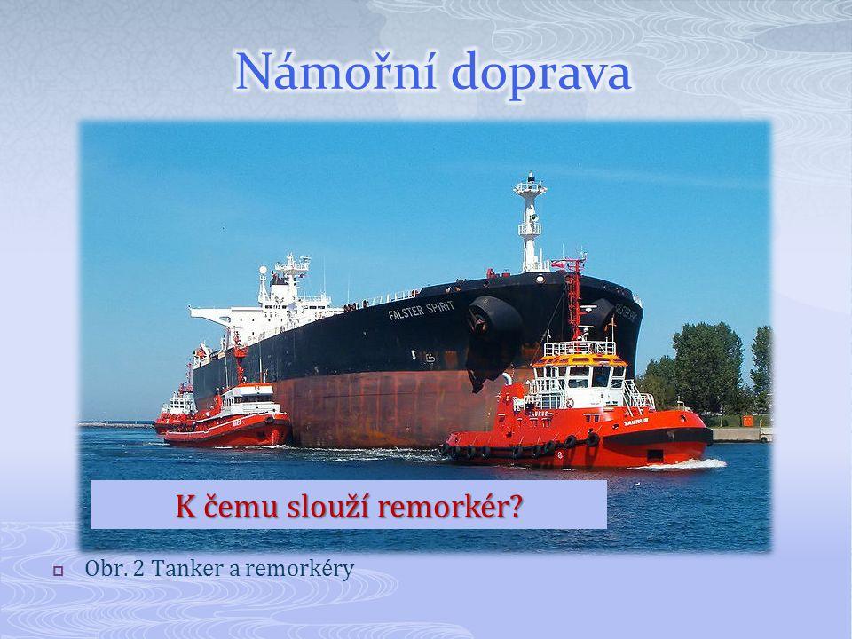 Námořní doprava K čemu slouží remorkér Obr. 2 Tanker a remorkéry