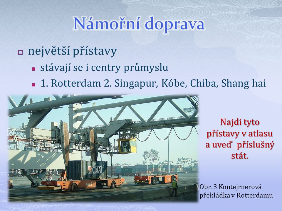 Najdi tyto přístavy v atlasu a uveď příslušný stát.