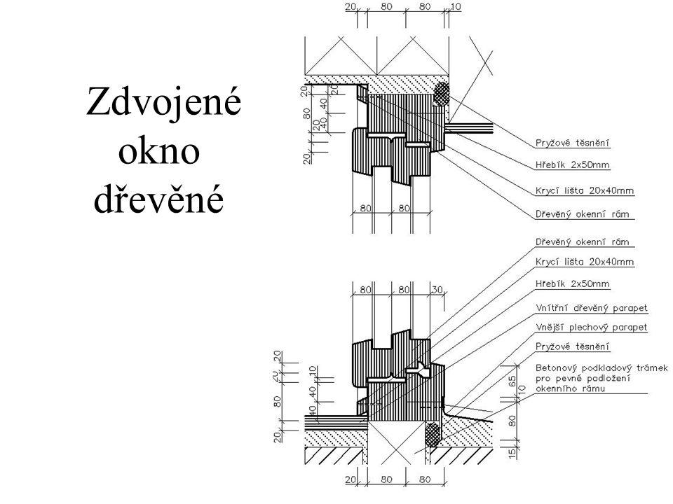 Zdvojené okno dřevěné Chybí celý parapet, kotvení a utěsnění spar