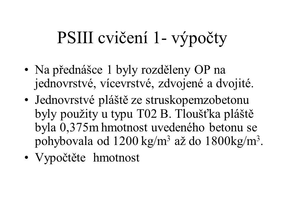 PSIII cvičení 1- výpočty