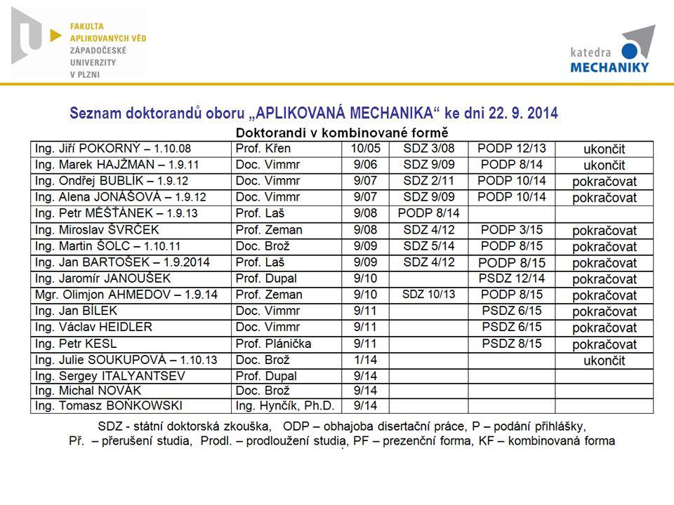 "Seznam doktorandů oboru ""APLIKOVANÁ MECHANIKA ke dni 22. 9. 2014"