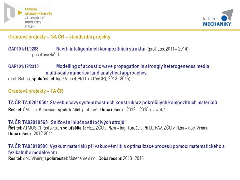 Grantové projekty – GA ČR – standardní projekty