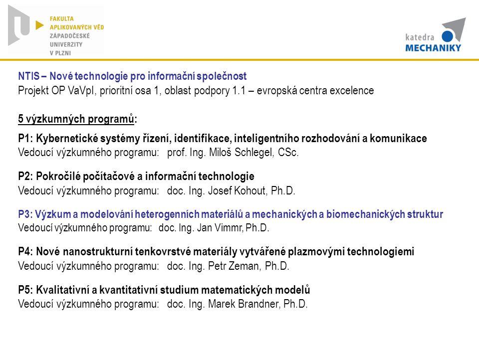 Vedoucí výzkumného programu: prof. Ing. Miloš Schlegel, CSc.