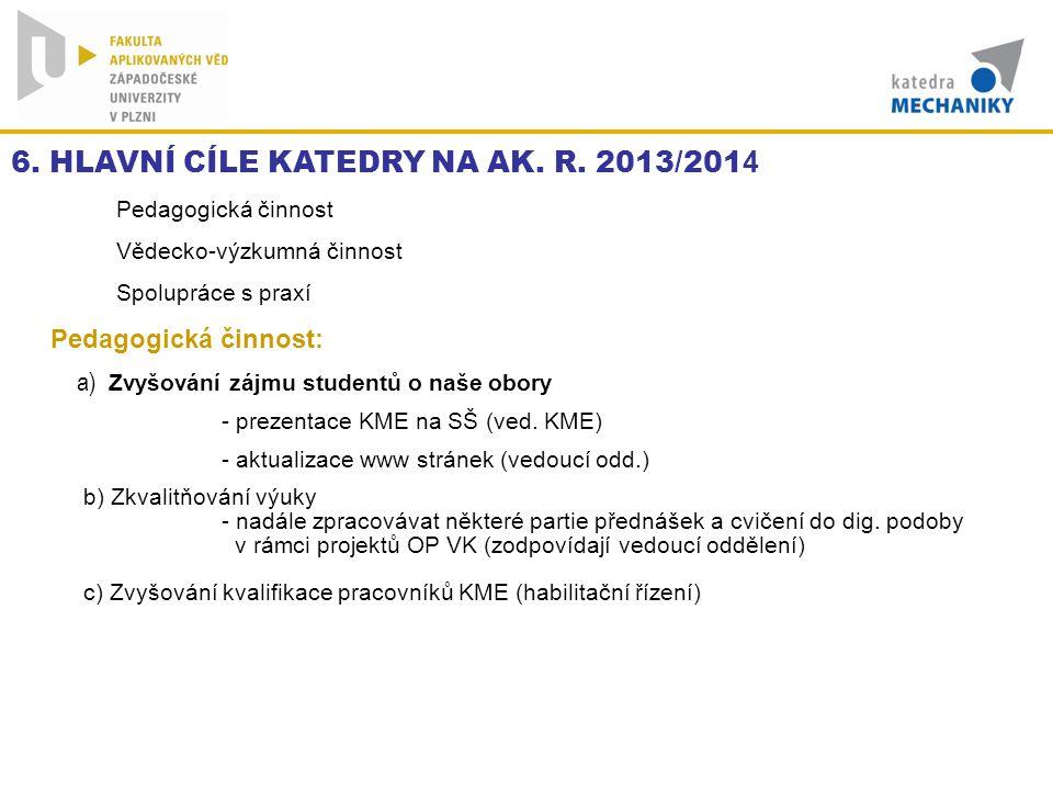 6. HLAVNÍ CÍLE KATEDRY NA AK. R. 2013/2014