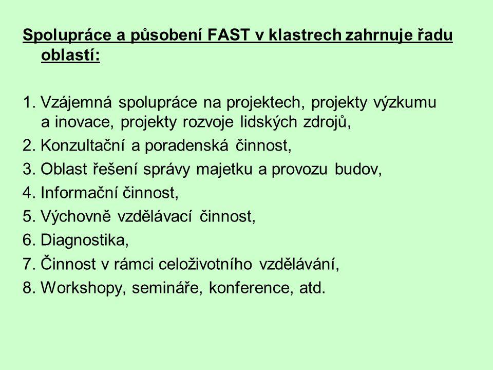 Spolupráce a působení FAST v klastrech zahrnuje řadu oblastí: