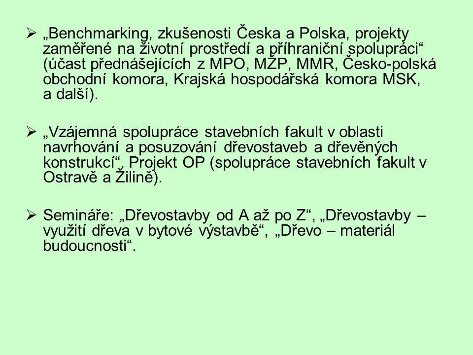 """""""Benchmarking, zkušenosti Česka a Polska, projekty zaměřené na životní prostředí a příhraniční spolupráci (účast přednášejících z MPO, MŽP, MMR, Česko-polská obchodní komora, Krajská hospodářská komora MSK, a další)."""