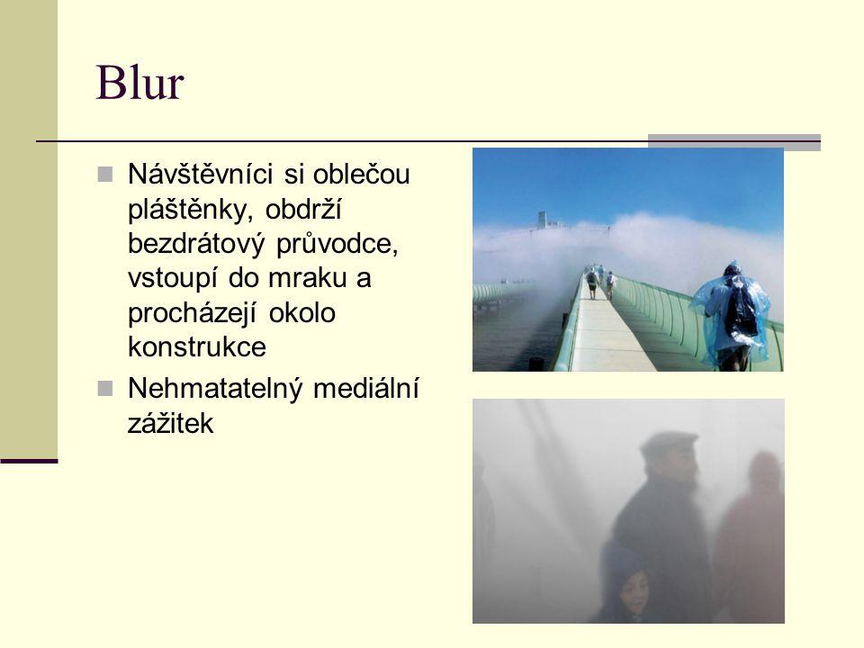 Blur Návštěvníci si oblečou pláštěnky, obdrží bezdrátový průvodce, vstoupí do mraku a procházejí okolo konstrukce.