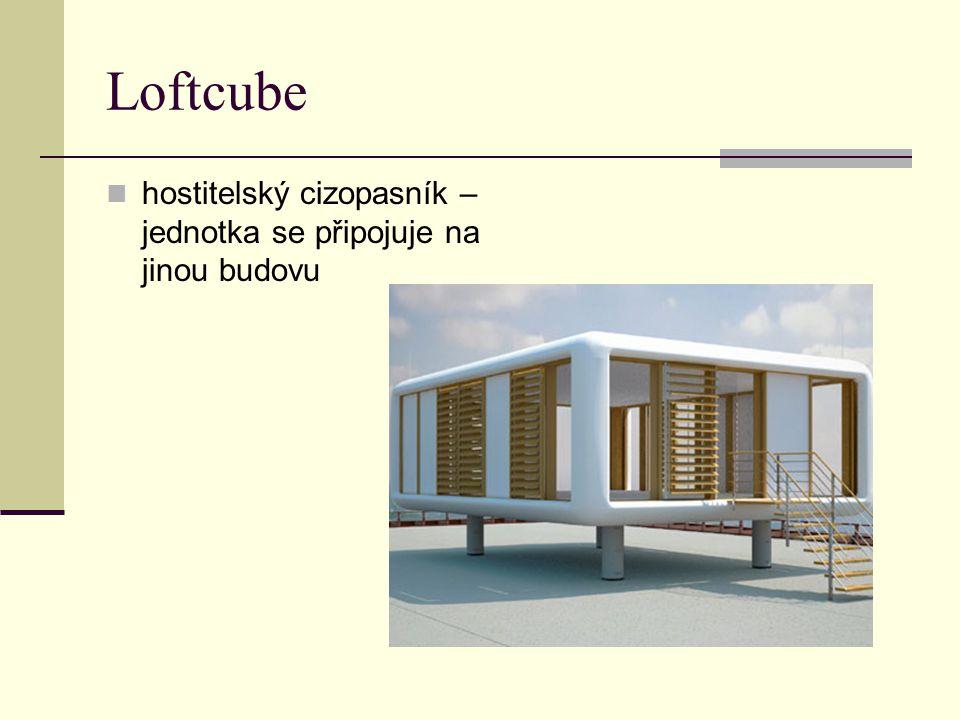 Loftcube hostitelský cizopasník – jednotka se připojuje na jinou budovu